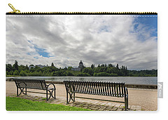 Park Bench Along Capitol Lake In Olympia Washington Carry-all Pouch
