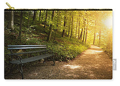 Carry-all Pouch featuring the photograph Park Bench In Fall by Chevy Fleet