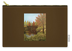 Carry-all Pouch featuring the mixed media Park In Autumn by Angela Stout