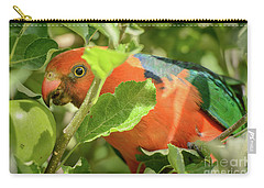 Carry-all Pouch featuring the photograph  Parrot In Apple Tree by Werner Padarin