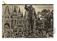 Partners Statue Walt Disney And Mickey In Black And White Mp Carry-all Pouch