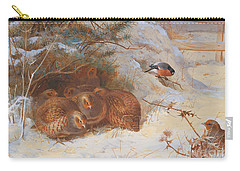Partridge And A Bullfinch In The Snow  Carry-all Pouch by Archibald Thorburn
