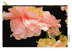 Carry-all Pouch featuring the photograph Pas De Deux Peonies With Yellow by Lynda Lehmann