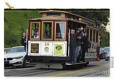 Carry-all Pouch featuring the photograph Passenger Waves From A Cable Car by Steven Spak