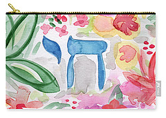 Carry-all Pouch featuring the mixed media Passover Chai- Art By Linda Woods by Linda Woods