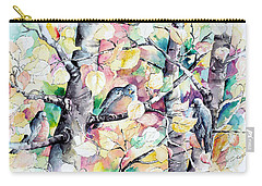 Pastel Aspen With Robins Carry-all Pouch