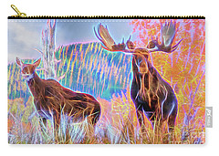 Carry-all Pouch featuring the photograph Pastel Moose Couple by Ray Shiu
