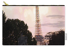 Carry-all Pouch featuring the photograph Pastel Paris Eiffel Tower Sunset Bokeh Lights - Romantic Eiffel Tower Pink Pastel Home Decor by Kathy Fornal