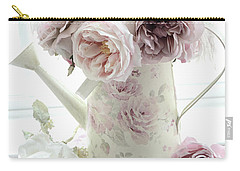 Carry-all Pouch featuring the photograph Pastel Romantic Shabby Chic Pink Flowers In Watering Can - Romantic Cottage Floral Home Decor  by Kathy Fornal