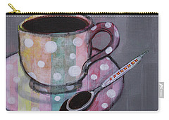 Carry-all Pouch featuring the painting Pastel Stripes Polka Dotted Coffee Cup by Robin Maria Pedrero