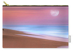Pastel Sunset And Moonrise Over Hutchinson Island Beach, Florida. Carry-all Pouch by Justin Kelefas