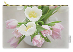 Carry-all Pouch featuring the photograph Pastel Tulips by Kim Hojnacki