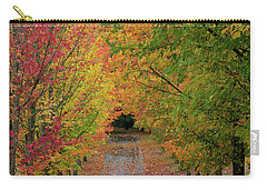 Path Lined With Maple Trees In Fall Season Carry-all Pouch