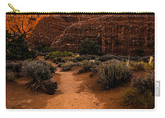Carry-all Pouch featuring the photograph Path To Skyline Arch At Sunset - Utah  by Gary Whitton