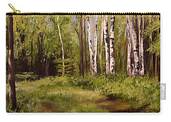 Carry-all Pouch featuring the painting Path To The Birches by Laurie Rohner