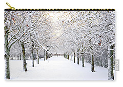 Pathway In Snow Carry-all Pouch by Marius Sipa