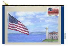 Patriotic Illustrated Lighthouse Carry-all Pouch
