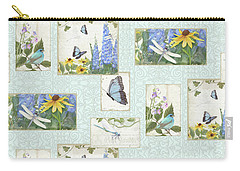 Carry-all Pouch featuring the painting Pattern Butterflies Dragonflies Birds And Blue And Yellow Floral by Audrey Jeanne Roberts