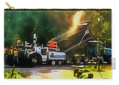 Pavement Machine Laying Fresh Asphalt  On Top Of The Gravel Base During Highway Construction Carry-all Pouch