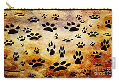 Carry-all Pouch featuring the digital art Paw Prints by Andee Design