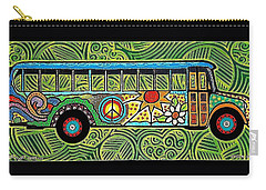 Peace And Love Hippie Bus Carry-all Pouch by Jim Harris