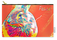 Carry-all Pouch featuring the mixed media Peace Bunny by Jessica Eli
