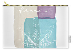Carry-all Pouch featuring the mixed media Peace Cannabis Leaf Watercolor- Art By Linda Woods by Linda Woods