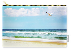 Peaceful Beach With Seagull Soaring Carry-all Pouch