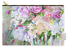 Peach And Pink Bouquet Carry-all Pouch by Jennifer Beaudet