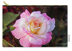 Peach And White Rose Carry-all Pouch
