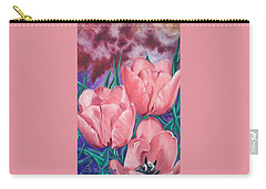 Perennially Perfect  Peach Pink Tulips Carry-all Pouch
