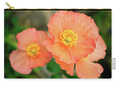 Peach Poppies Carry-all Pouch by Sally Weigand