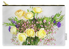 Peachy Yellow Roses And Lisianthus Bouquet Carry-all Pouch
