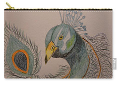 Peacock #1 - Drawing Carry-all Pouch by Maria Urso