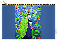 Carry-all Pouch featuring the painting Peacock #3 by Margaret Harmon