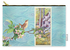 Peacock And Cherry Blossom With Wren Carry-all Pouch