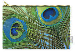 Peacock Candy Blue And Green Carry-all Pouch by Mindy Sommers