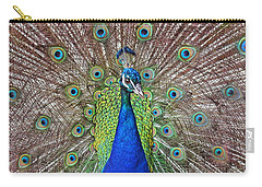 Carry-all Pouch featuring the photograph Peacock Displaying His Plumage by Jim Fitzpatrick