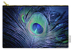 Carry-all Pouch featuring the photograph Peacock Feather Blush by Sharon Mau