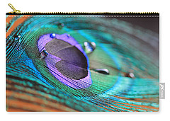 Peacock Feather With Water Drops Carry-all Pouch