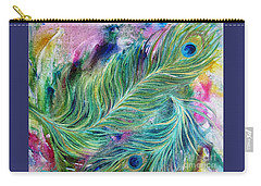 Peacock Feathers Bright Carry-all Pouch by Denise Hoag