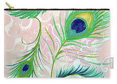 Carry-all Pouch featuring the painting Peacock Feathers by Robin Maria Pedrero