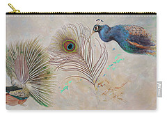 Carry-all Pouch featuring the painting Peacock In Three Views by Nancy Lee Moran