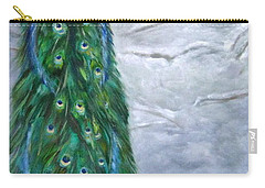 Peacock In Winter Carry-all Pouch by LaVonne Hand