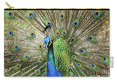Carry-all Pouch featuring the photograph Peacock Indian Blue by Sharon Mau