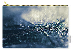Carry-all Pouch featuring the photograph Peacock Macro Feather And Waterdrops by Sharon Mau