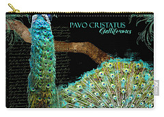 Peacock Pair On Tree Branch Tail Feathers Carry-all Pouch by Audrey Jeanne Roberts