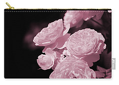 Peacock Pink Cabbage Roses On Black Carry-all Pouch