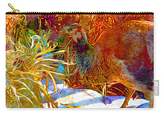 Carry-all Pouch featuring the photograph Peahen Eating Winter Garden Kale by Anastasia Savage Ealy