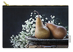 Pears And Baby's Breath Carry-all Pouch by Stephanie Frey
